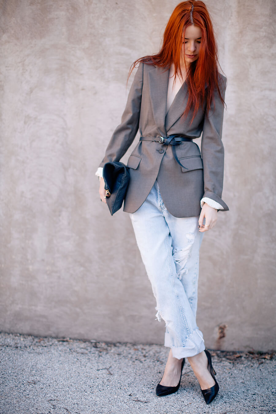 Belted blazer + Levi's on Sea of Shoes
