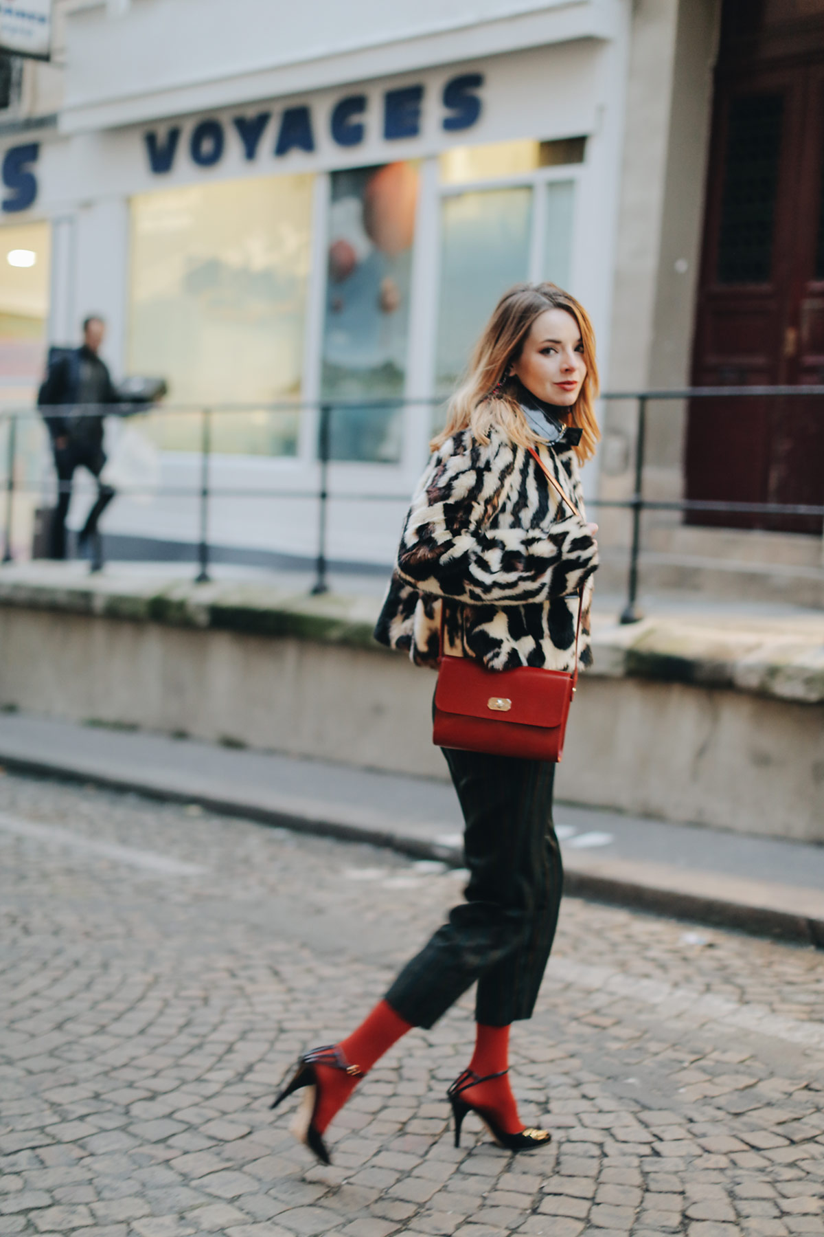 b85df0ee3dbc Above I am wearing a Carven leopard faux fur coat I bought last year with  vintage Moschino pants, red tights from Target, my A.P.C. bag, and Vanessa  Seward ...